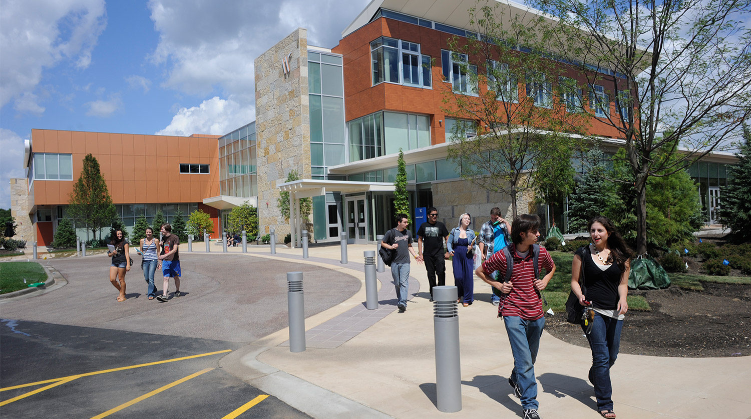 College of DuPage_ Culinary and Hospitality Center exterior with people