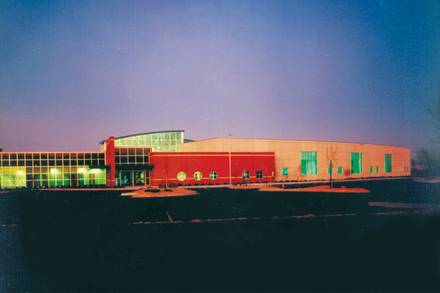 Edward Hospital Health and Fitness Center exterior at dusk