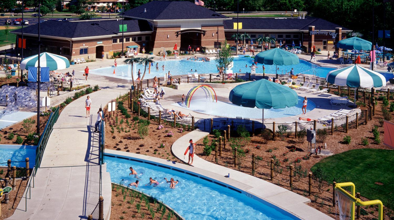 Elk Grove Park District Rainbow Falls Aquatic Park pool complex aerial