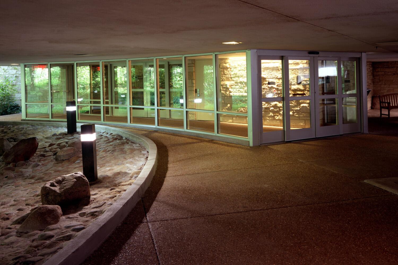 Highland Park Library Interior Renovation exterior at night