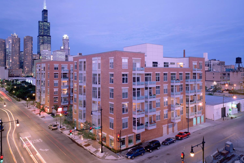 Madison Condominiums exterior at night
