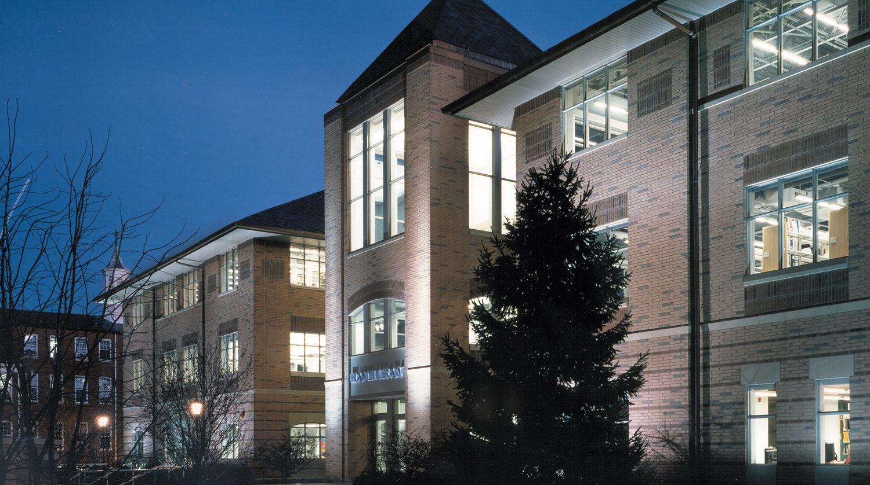 North Park University Brandel Library exterior at night 2