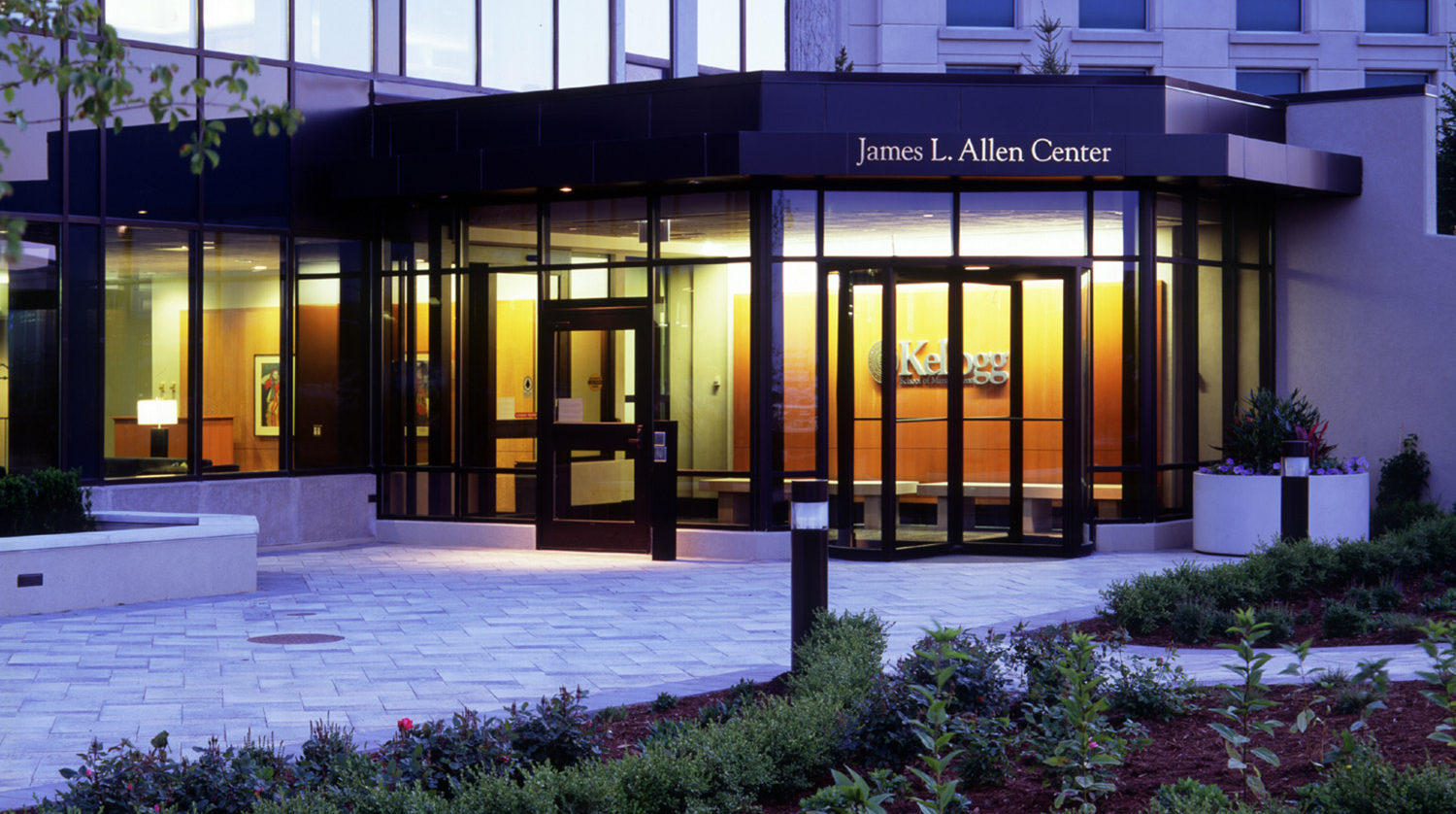 Northwestern University Kellogg Graduate School of Management James L. Allen Center exterior at night