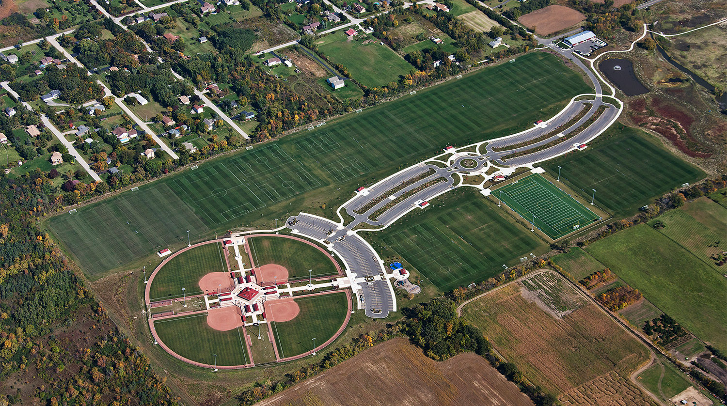 Waukegan Park District Outdoor Sports Complex aerial 1